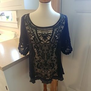FREE PEOPLE Cutwork Eyelet Mesh Navy Blue Sweater